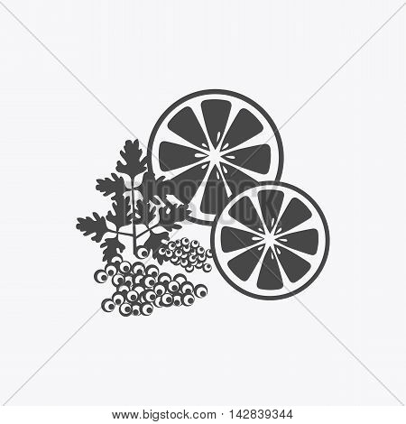 Elegant delicacies from the sea concept in monochrome variant. Seafood illustration for packaging, logos, and patterns. Caviar filed with lemon and herbs.