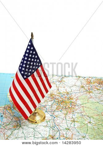USA flag on the map against white background
