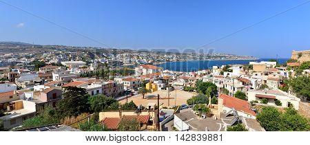 Rethymno city Crete Greece seashore panorama view