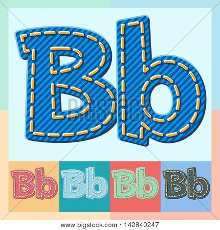 Vector jeans alphabet. Optional colorful graphic styles. Letter B