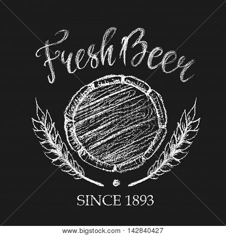 Fresh beer placard for brewery pub restaurant or Oktoberfest. Chalk logo illustration in white color of barrel bottom and wheat ears.