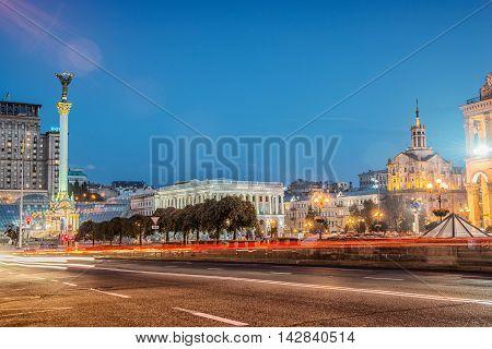 Evening monument beautiful Independence Square Kiev Ukraine