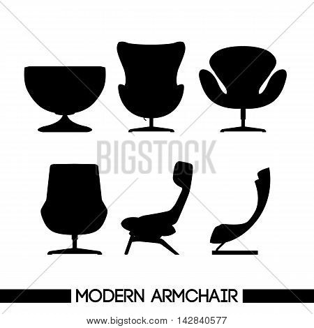 Black modern armchair set in outlines over white background. Digital vector image