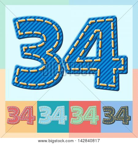 Vector jeans alphabet. Optional colorful graphic styles. Numbers 3 4
