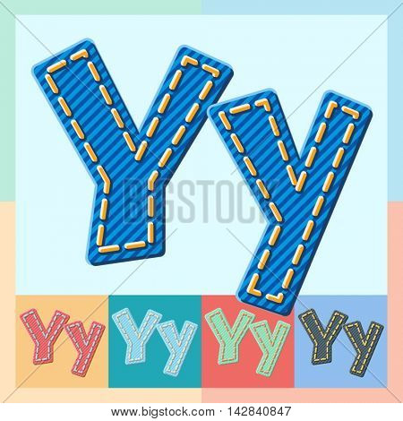 Vector jeans alphabet. Optional colorful graphic styles. Letter Y