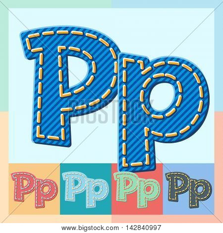 Vector jeans alphabet. Optional colorful graphic styles. Letter P
