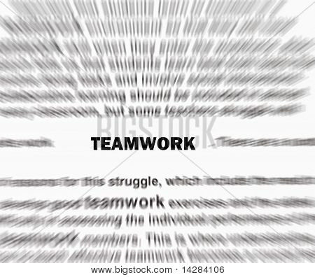 Focar o trabalho em equipe palavra