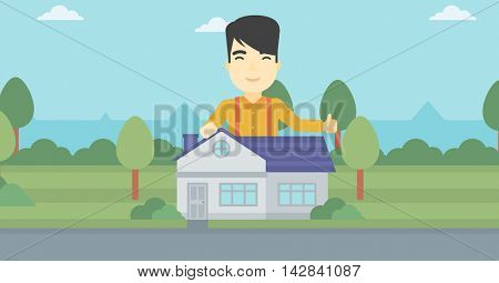 An asian young man standing behind the house and showing thumb up. Real estate agent offering the house. Young man giving thumbs up. Vector flat design illustration. Horizontal layout.