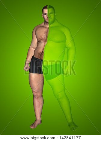 3D illustration of a concept or conceptual 3D fat overweight vs slim fit with muscles young man on diet on green background