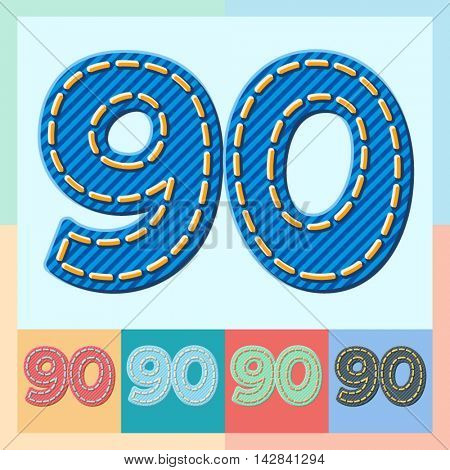 Vector jeans alphabet. Optional colorful graphic styles. Numbers 9 0