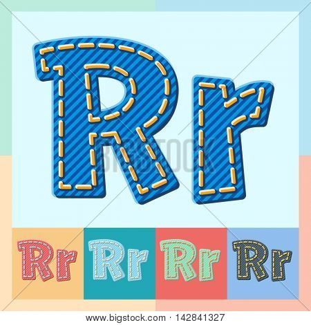 Vector jeans alphabet. Optional colorful graphic styles. Letter R