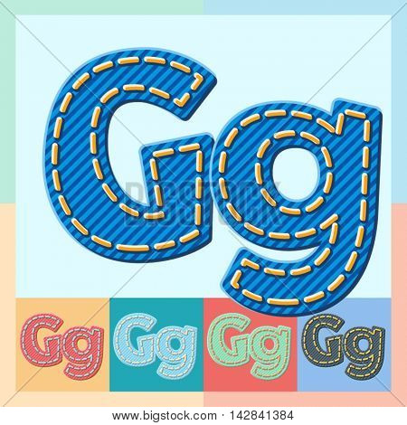 Vector jeans alphabet. Optional colorful graphic styles. Letter G