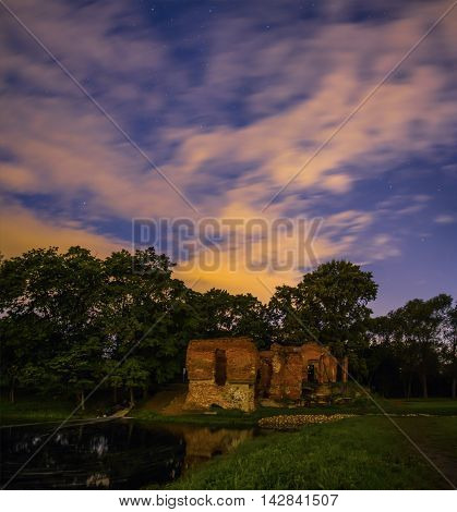 the ruins of the pink pavilion in Meadow Park in Petrodvorets, St. Petersburg ,Russia