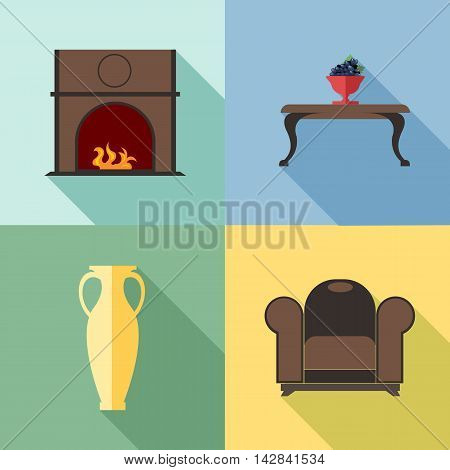 Furniture set with fireplace in outlines. Digital vector image