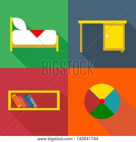 Furniture set in outlines. Digital vector image
