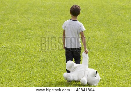 Disappointed boy is holding a teddy bear and standing in the meadow. Child looking down. Back view. adness fear frustration loneliness concept