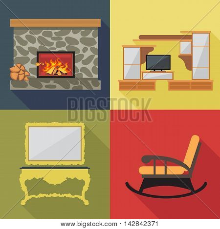Fireplace home decoration icon set flat style. Digital vector image