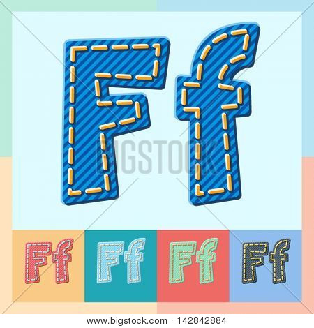 Vector jeans alphabet. Optional colorful graphic styles. Letter F