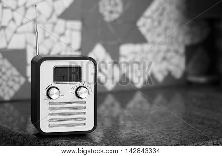 Old school antenna radio in black and white