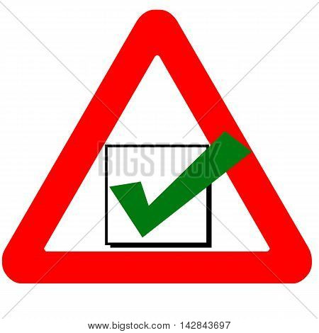 Funny Warning Road Sign Check Box Green Icon Isolated On White