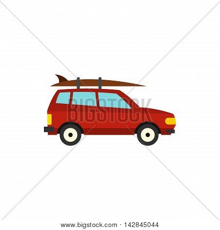 Red car with surfboard icon in flat style on a white background