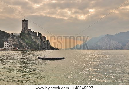 Evening in Malcesine at Lake Garda in italian Lake District,Italy