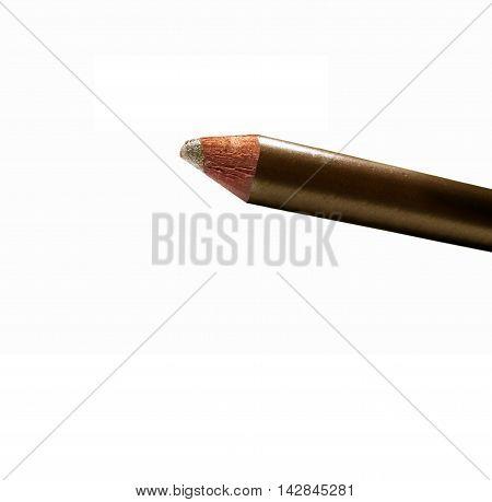 Part Of Metallic Cream Eyeshadow Pencil Gold Isolated On White