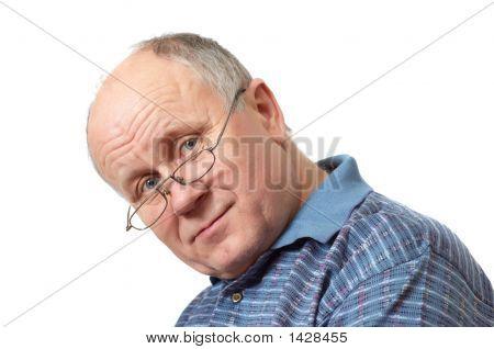 Bald Senior Man With Glasses