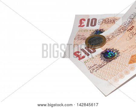 Euro On English Uk 10 Pound Note Isolated On White