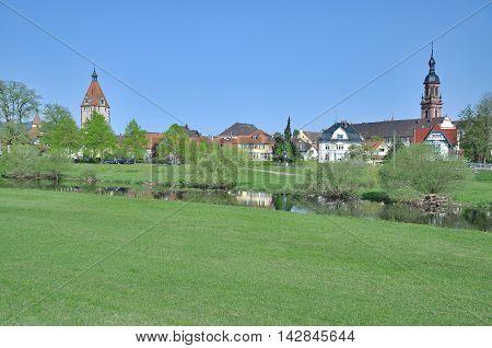 Village of Gengenbach at River Kinzig in Ortenau region,Black Forest,Germany