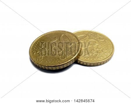 Small Change Euro Money Coins 2 50 Cents Isolated On White