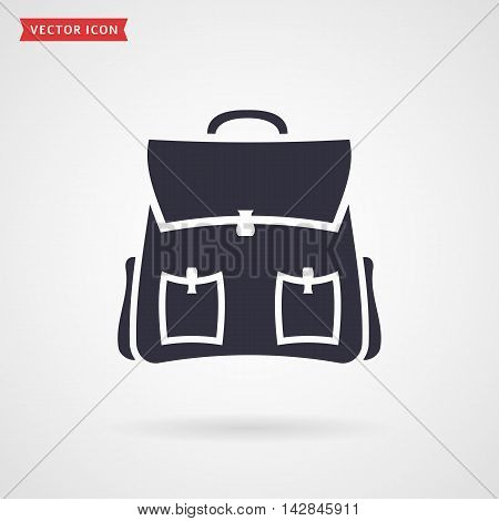 Backpack icon isolated on white background. School or travel themes. Vector illustration.