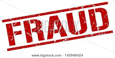 fraud stamp. red grunge square isolated sign