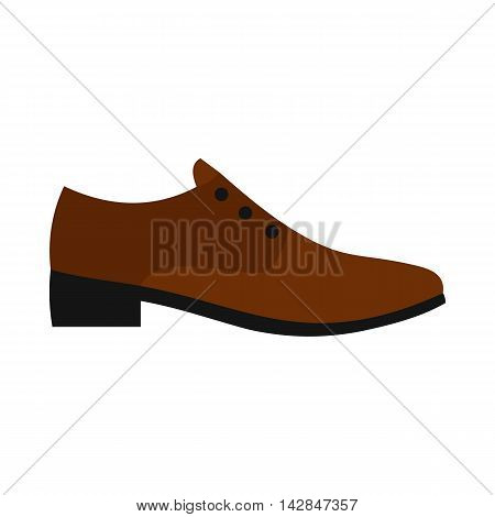 Male brown shoe icon in flat style on a white background