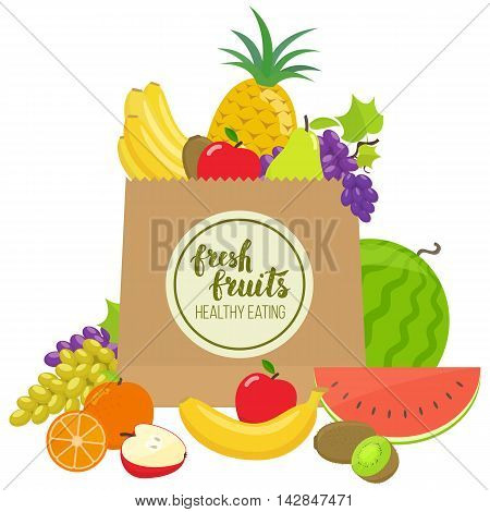 Paper bag with colorful fruits. Handwritten lettering organic food. Vector stock illustration.