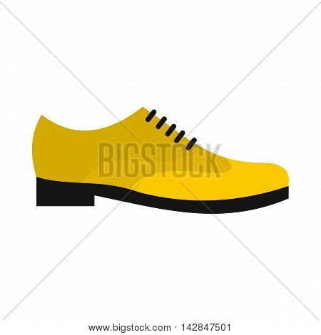 Male yellow shoe icon in flat style on a white background