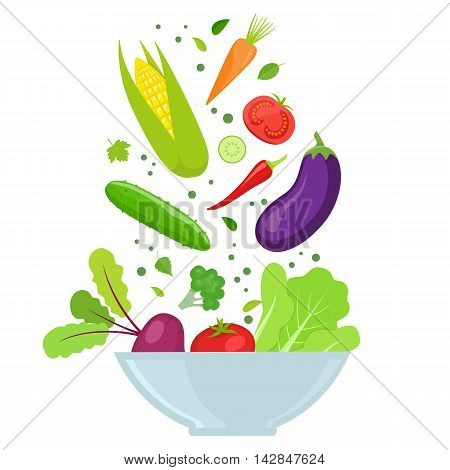 Bowl with colorful vegetables isolated on white background. Vector stock illustration.