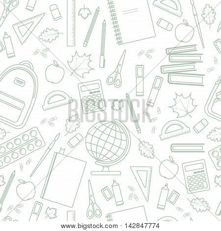 Seamless linear school pattern on a white background. Vector stock illustration.