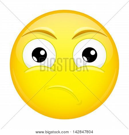 What emoji. Sad emotion. Puzzled emoticon. Illustration smile icon.