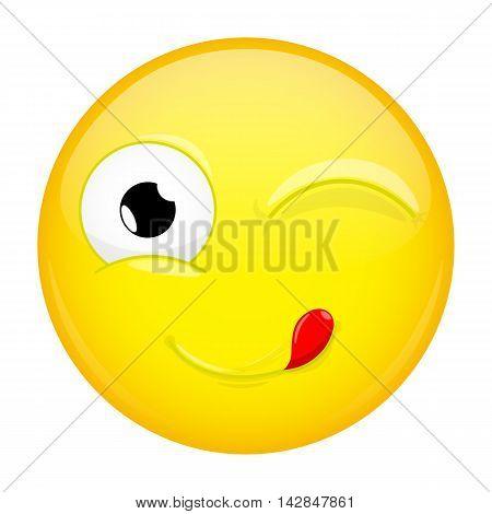 Lick lips emoji. Wink emotion. Yummy emoticon. Illustration smile icon.