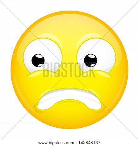 Shocked emoji. Fear emotion. Puzzled emoticon. Illustration smile icon.