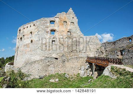 Ruins of Topolcany castle Slovak republic central Europe. Ancient architecture. Beautiful place. Travel destination.
