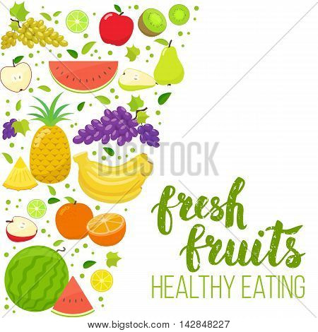 Side vertical border with colorful fruits. Template for packaging cards posters menu. Handwritten lettering organic food. Vector stock illustration.