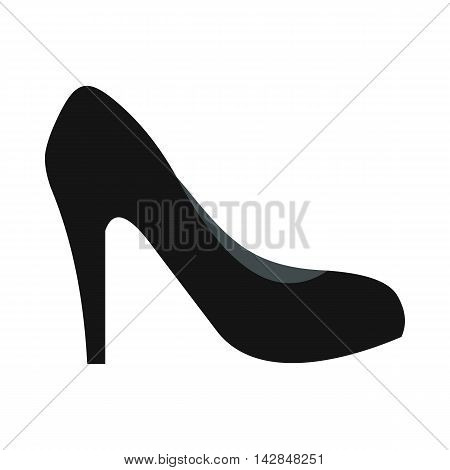 Black high heel shoe icon in flat style on a white background