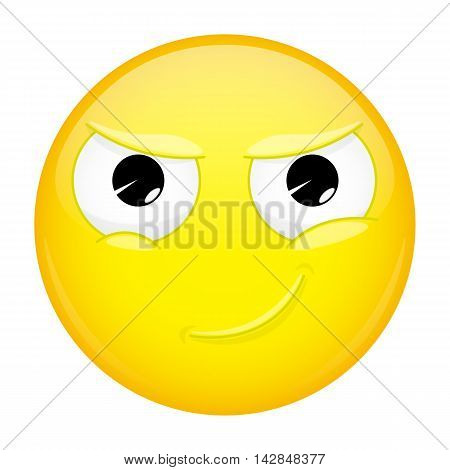 Smiling emoji. Smirk emotion. Cunning emoticon. Illustration smile icon.
