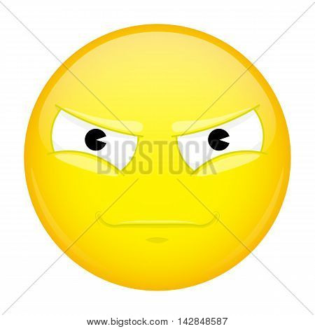 Evil emoji. Bad emotion. Malice emoticon. Illustration smile icon.