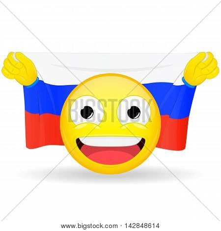 Emoji fan holds in hands flag behind his head. Russian flag. Fan cares for his country. Glory spectator bawl emotion. Exult emoticon. Buff of sports games smile illustration.