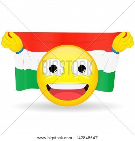 Emoji fan holds in hands flag behind his head. Hungarian flag. Fan cares for his country. Glory spectator bawl emotion. Exult emoticon. Buff of sports games smile illustration.