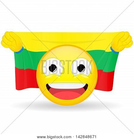Emoji fan holds in hands flag behind his head. Lithuanian flag. Fan cares for his country. Glory spectator bawl emotion. Exult emoticon. Buff of sports games smile illustration.