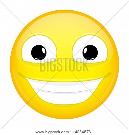 Broadly smiling emoji. Good emotion. Happy emoticon. Illustration smile icon.